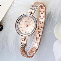 Luxurious Ladies Alloy Bracelets Watch Slim Small Bangle Wrist Watch with Waterproof Life 3 Bar