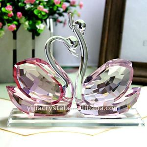 Pink Crystal Couple Swan with base Figurine