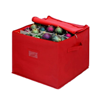 Top Zipper Canvas Red Ornament Ball Organizer, Household Christmas Ornament Storage Box Bag with Handle
