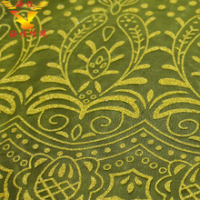 Yello floral glitter pattern knitted embroidered silk organza fabric for wholesale