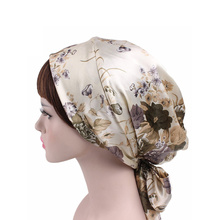 HZM-18014001 Century Star Women's Soft Satin Lined Night Sleep Beanie Hat <strong>Cap</strong> with Ribbons Korean Style Pure Silk Bonnet
