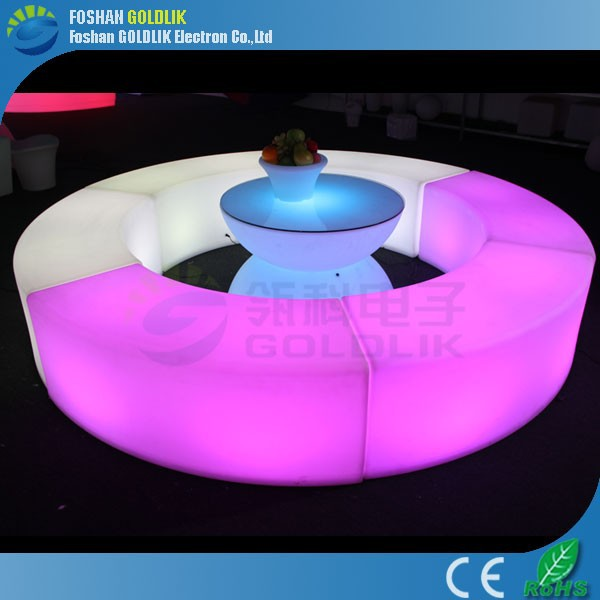 Plastic luminous bar sofa sets with remote control GKW-043BD