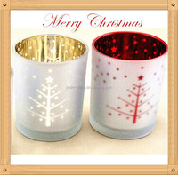 Christmas decoration spray colored candle holder, silvery electroplate glass tea light candlestick