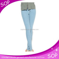 Sexy skinny jeans woman 2015 yarn dyed manufacture in china