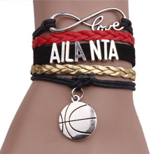2016 Latest custom design infinity friendship leather braided bracelet fashion basketball team bracelet wholesale