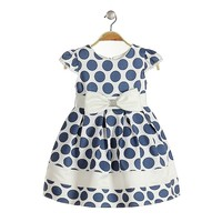 blue polka dot dress for girls baby dress for Christmas party 2015 party dresses for kids