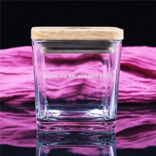 BOYE square home decorative luxury soy wax candle <strong>glass</strong> <strong>jars</strong> with wood lid