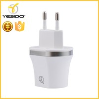 For Android mobile phone white 5v 1A 2.1A ac 2 port usb travel wall charger