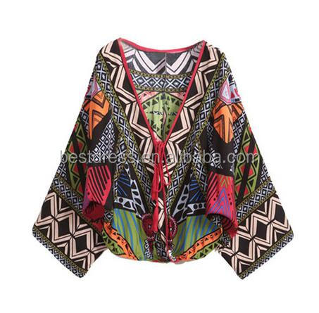 Summer Women Long Bat Sleeve Green Deep V Neck Tribal Print 2016 Blusa Feminina Tops Pullover Crop Cool Vintage Blouse