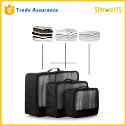 China Supplier Custom Black Foldable Travel Packing Cubes Bag 3 piece