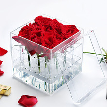 Wholesale 9 Holes Luxury Clear Acrylic Flower Box Custom Rose Boxes with lid acrylic boxes