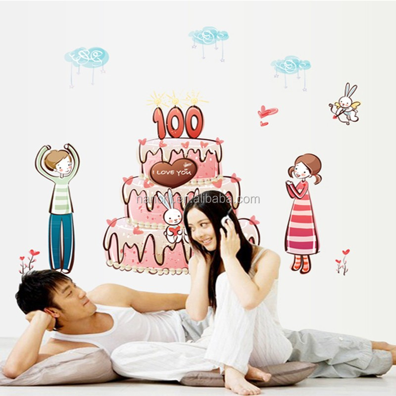 High Quality Cartoon Cake Happy Birthday Wall Decals Diy Removable