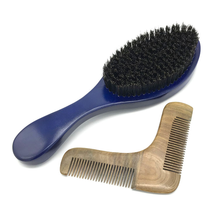 High quality boar bristle beard brush and comb kit shaping tool