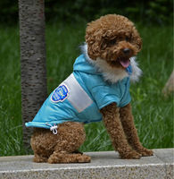 PETSOO Winter Dog Clothes Blue Contrast Color Fish Bone pattern Adjustable button Pet Coat [ PTS-038C]