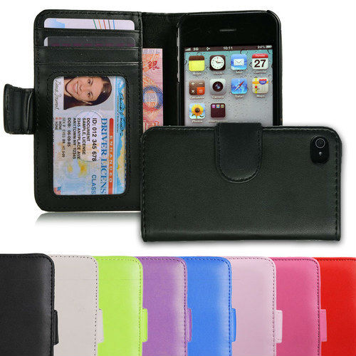Hot Sale!!!Wallet Credit ID Card Holder Flip Leather Pouch Case Cover+ Pen+ Film for Iphone 4S 4