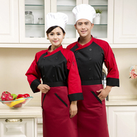 customized with good quality double breasted design baju chef