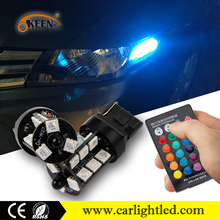 KEEN Newest 12v Multi color 27smd T20 car led bulbs RGB canbus 7440 5050 led reverse lights with remote controller for all cars