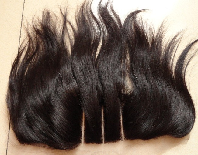 New arrive 13*4 three part lace closure brazilian 100% Human Hair Lace Closures