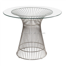 dining room furniture round glass top SS frame Platner high Table