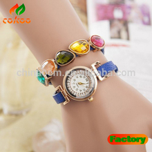 2014 New women vintage leather strap watches,set auger angel wings rivet bracelet women dress watch wristwatch HOT