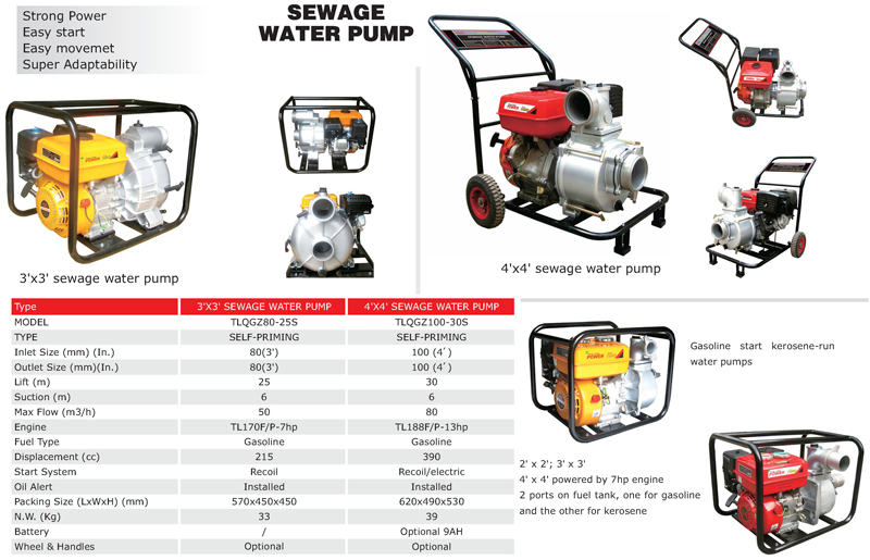 Chongqing Tenglong 4 strokes gasoline engine 3 inch sewage water pump specification