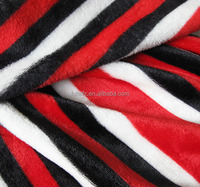 wholesale red and white striped fleece fabric for bedding sets