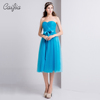 Caijia 2017 New Arrival Sweet Blue Ruched Strapless Chaozhou Cocktail Dress Bridesmaid Dresses Long With Bowknot Waistband
