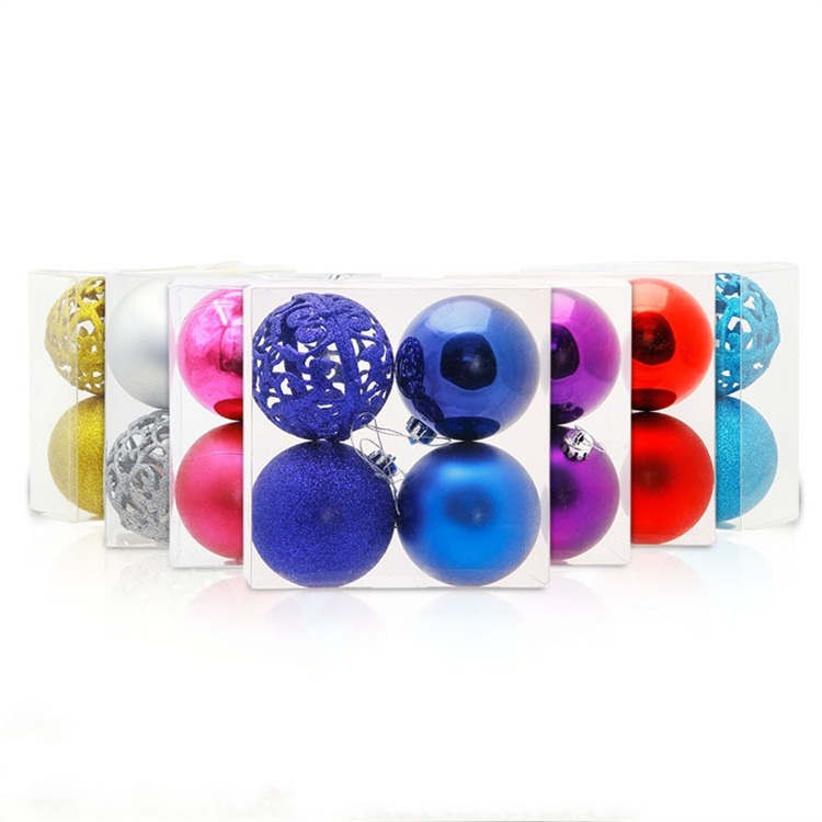 8cm Boxed Festival Decorate Plastic Pendant Multicolor Hollow Scrub Christmas Ball