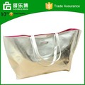 2015 Ladies Fashion Stock Reversible Silver PU Embossed Beach Tote