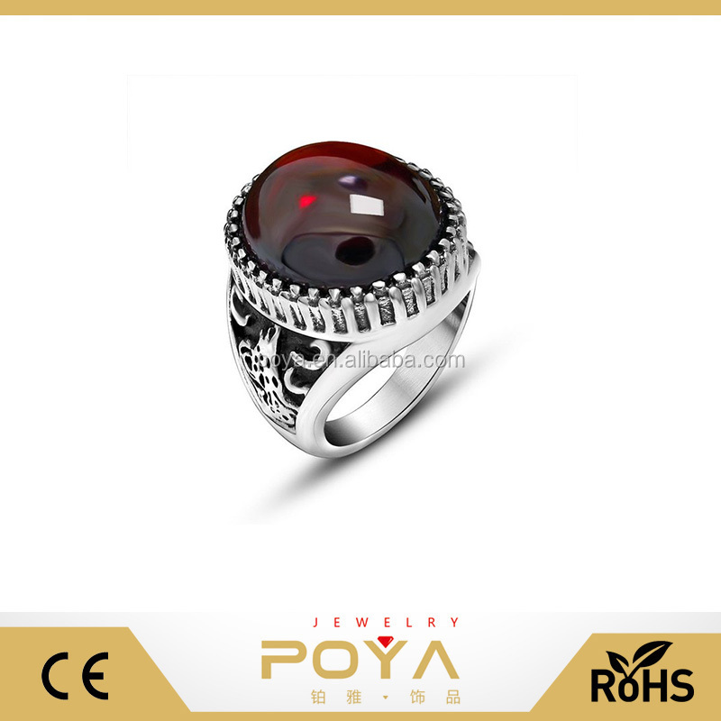 POYA Jewelry 316l Stainless Steel Red Black Agate Classical Exquisite Animal Pattern Engagement Wedding Band Rings