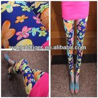 Wholesale Colored Leggings Fashion Ladies Sexy Thin Retro Rose Flower Print Women Galaxy Leggings