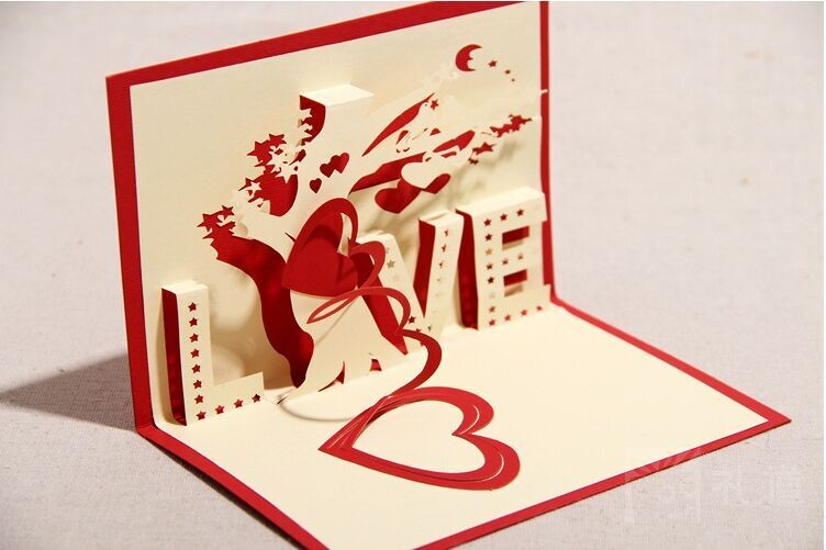 2016 New fashion sweet love paper wedding invitation paper cards