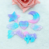 Hait Bows Accessories Flat Back Resin Glitter Jewelry Charms Cabochons