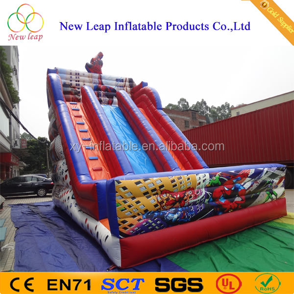 High quality digital priting spiderman Giant inflatable slide for sale