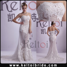Sheath Strapless Long Train Tulle Real Photos Wedding Dress 2014