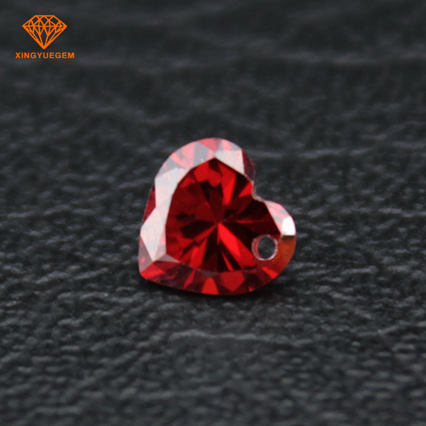 Hot sale heart shape stones red cubic zirconia diamond jewelry gemstones