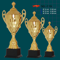 Wholesale trophy souvenir use cheap metal golden champions trophy cup