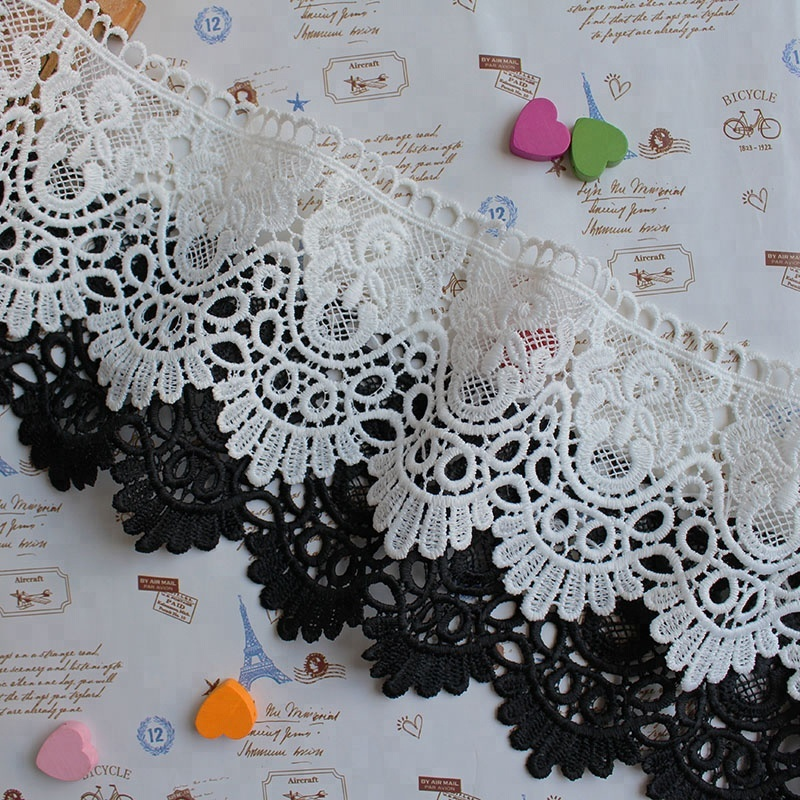Wholesale white embroidery lace trim for bridal dress