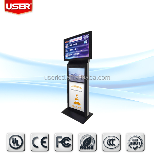 Manufacturer menu restaurant double side lcd signage pop display kiosk 3g wifi with server softwar