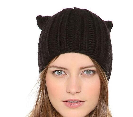 Godbead Woman's Hats Cat Shape Knitting Wool Lady's Headwear Fashion Ear Muff