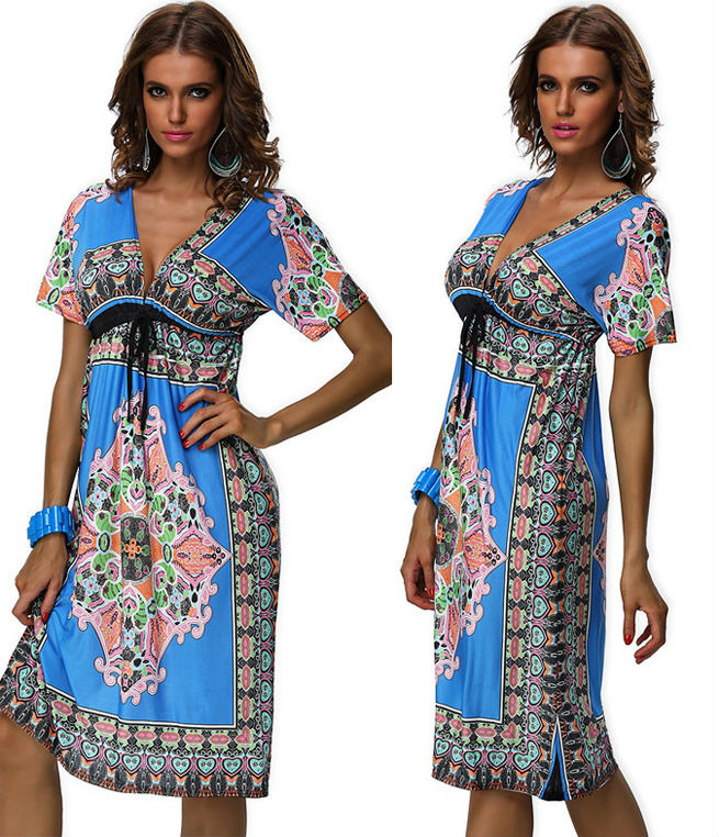 Sexy Floral V Neck Beach Cover Up Sundress Long Strapless Summer Dress