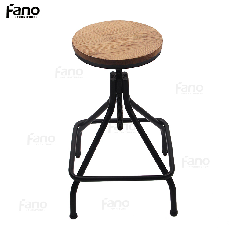 industrial adjustable swivel wooden round bar stool wood iron