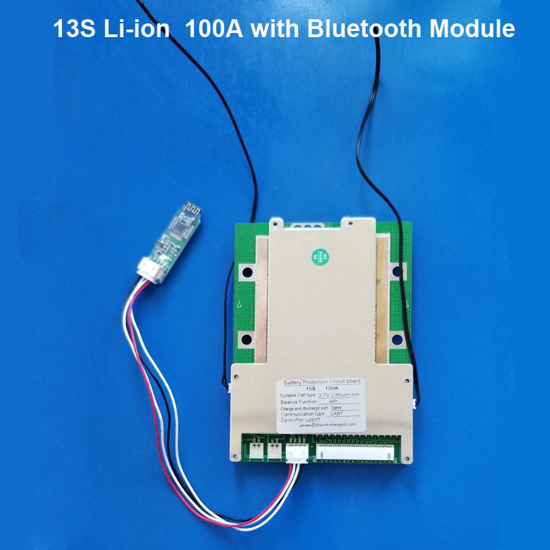 48V Electric motorcycle li ion battery Smart Bluetooth BMS with 100A constant current and Software <strong>PCB</strong> 54.6V