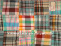 cotton patchwork madras plaid fabric for girls skirts