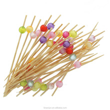 Colorful ball Bamboo Cocktail Picks 12cm Decorative Fruit Picks with Crystal SE-AC16101