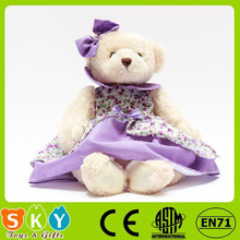 ICTI SEDEX sublimation cotton stuffed plush animal toy teddy bear with tie