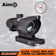Aim-O China Airsoft ACOG Type 1X32 Red Dot Sight Scope with Illumination Source Fiber for Air Guns and Weapons AO1001