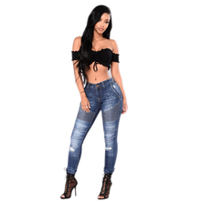 Baggy jeans high waist jeans Fashion Style torn and frayed ripped Hollow biker jeans women long denim trousers