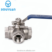 three way valve Stainless steel 304 316 female threaded ball valve with handle