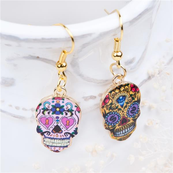 New Fashion Cheap Gold Plated Multicolor Halloween Sugar Skull Earrings